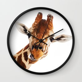 Giraffe Portrait // Wild Animal Cute Zoo Safari Madagascar Wildlife Nursery Decor Ideas Wall Clock