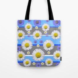 DECORATIVE BLUE MODERN ART WHITE SHASTA DAISIES Tote Bag