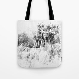 Whitetail Deer (Black and White) Tote Bag