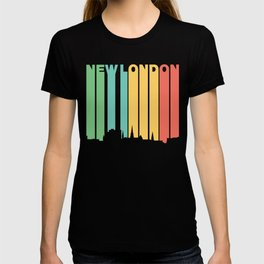 Retro 1970's Style New London Connecticut Skyline T-shirt