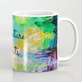 ADVENTURE AWAITS Wanderlust Typography Explore Summer Nature Rainbow Abstract Fine Art Painting Coffee Mug