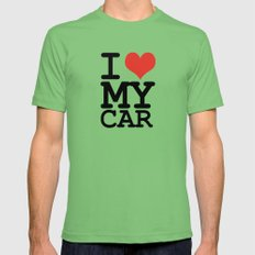 I love my car Mens Fitted Tee Grass LARGE