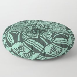 Mint Mandala with Bold Lines Floor Pillow