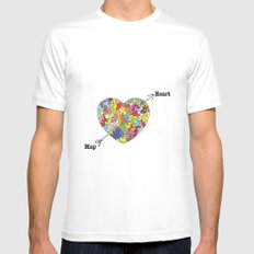Heart Map MEDIUM Mens Fitted Tee White
