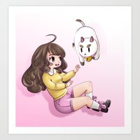 puppycat Art Prints featuring bee and puppycat by Diogo Dornelles