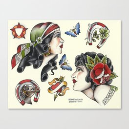 Vintage style tattoo design sheets by Sebastian Orth Canvas Print