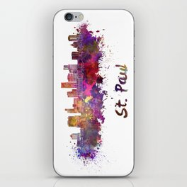 Saint Paul skyline in watercolor iPhone Skin