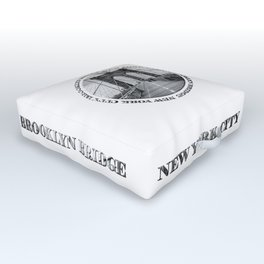 Brooklyn Bridge New York City (black & white with text) Outdoor Floor Cushion