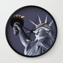 The Statue of Liberty 1c by Kathy Morton Stanion Wall Clock
