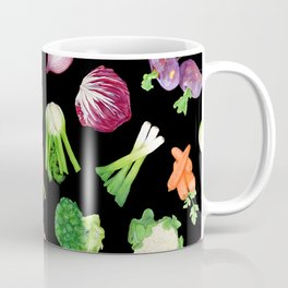 Black veggies pattern | Vegetables illustration pattern Coffee Mug