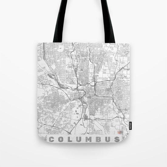 Columbus Map Line Tote Bag