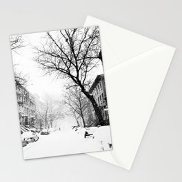 New York City At Snow Time Black and White Stationery Cards