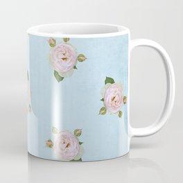 Vintage Pale Pink Roses on Pale Blue Coffee Mug