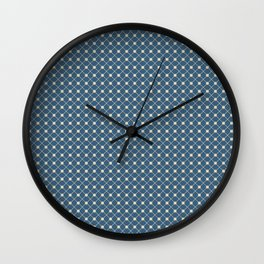Beige Angled Polka Dot Grid Line Pattern on Blue Pairs To 2020 Color of the Year Chinese Porcelain Wall Clock