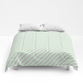 Pastel Tones Inclined Stripes Comforters