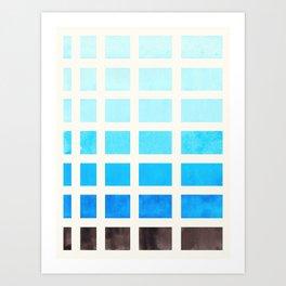 Cerulean Blue Minimalist Mid Century Grid Pattern Staggered Square Matrix Watercolor Painting Art Print