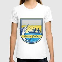 Kayak Fishing Blue Marlin Badge T-shirt