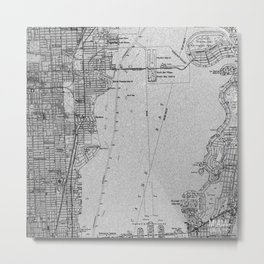 14-Miami Florida 1950 old vintage gray map Metal Print