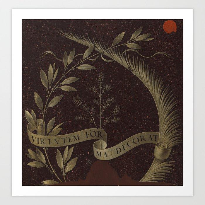 "Leonardo Da Vinci ""Wreath of Laurel, Palm, and Juniper with a Scroll inscribed Virtutem Forma Decor"" Kunstdrucke"