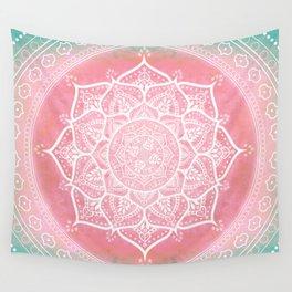 Bohemian Blush Pink & Teal Mandala Wall Tapestry