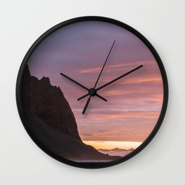 Sunrise at Stokksnes mountain beach in Iceland - Landscape Photography Wall Clock