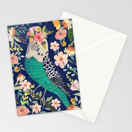 Parakeet with Floral Crown Stationery Cards