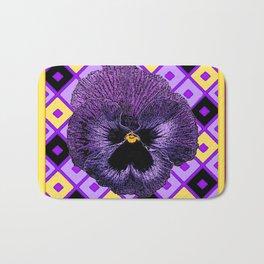 Yellow & Purple Checkered Pansy Pattern Bath Mat
