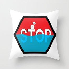 Polar Bear Stop Sign Throw Pillow