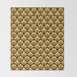 Art Deco Shell Pattern, Gold and Black Throw Blanket