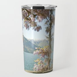 Lavender Wisteria Flowers and Mountains Travel Mug