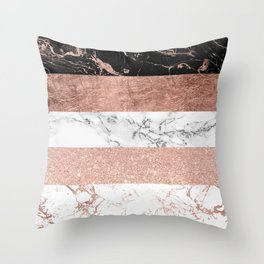 Modern chic color block rose gold marble stripes pattern Throw Pillow