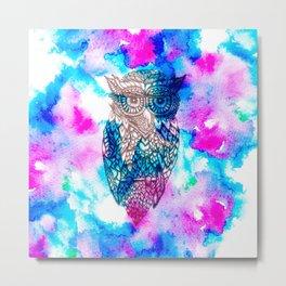 Floral owl illustration pink blue watercolor Metal Print