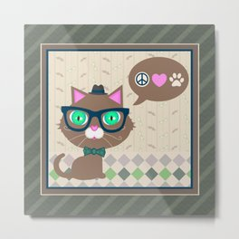 Hipster Boy Kitty Cat   Metal Print