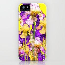 Purple Yellow & Purple Iris Flowers iPhone Case