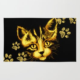 Cute Cat Portrait with Paws Prints Rug