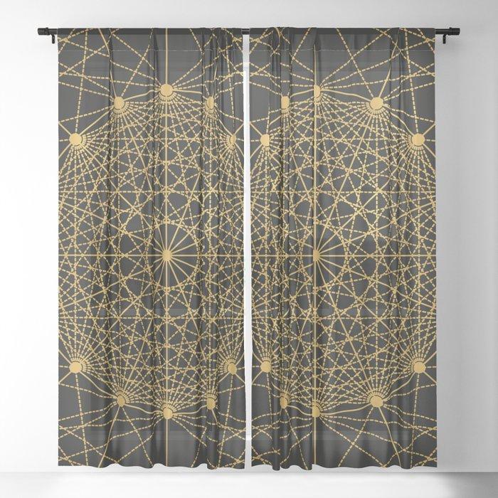 Geometric Circle Black and Gold Sheer Curtain