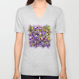 EMERGING CUBES BLUE ABSTRACT Unisex V-Neck