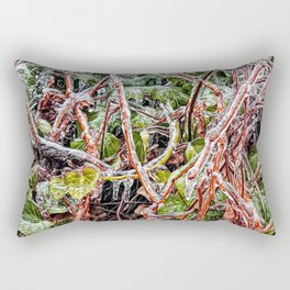 Freezing Rain On Green Ivy Vines Rectangular Pillow