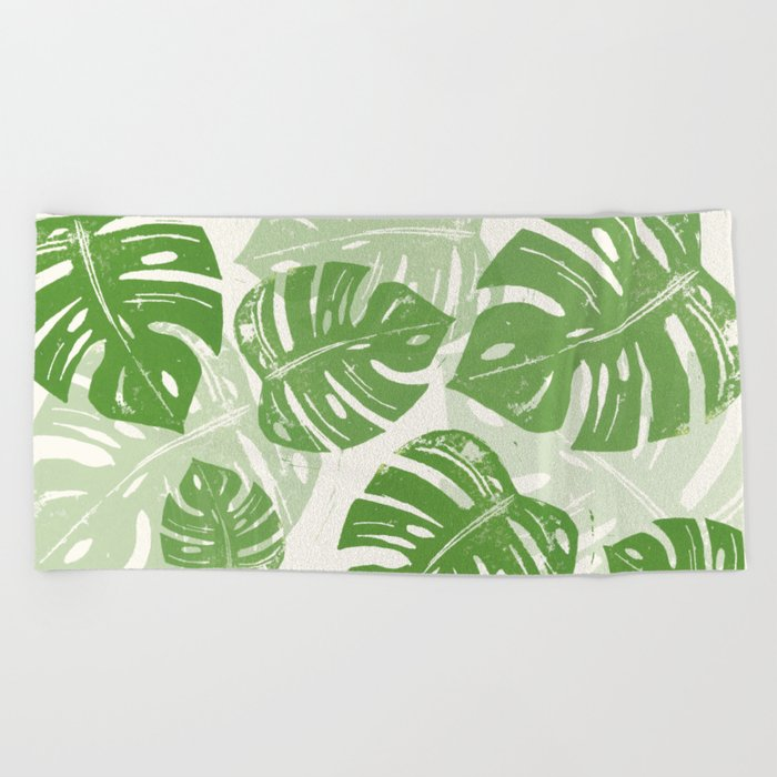 Linocut Monstera Leaf Pattern Beach Towel