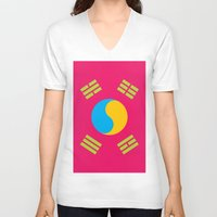 korea V-neck T-shirts featuring Neon Nation SOUTH KOREA by T.K.O.
