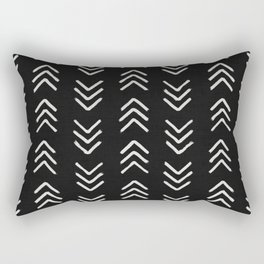 Charcoal & soft white brushed arrow heads, textured background Rectangular Pillow