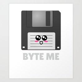 Byte Me Cute Diskette Pun Art Print