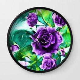 Schönbrunn Palace, Vienna Purple Roses Flower Portrait by Jeanpaul Ferro Wall Clock