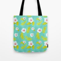 hibiscus Tote Bags featuring Hibiscus by Maya Bee Illustrations