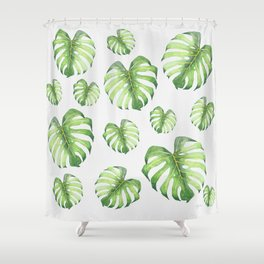 Watercolor monstera pattern Shower Curtain