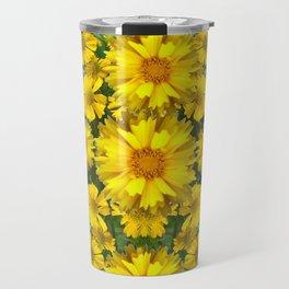 YELLOW COREOPSIS FLOWERS GREEN GARDEN Travel Mug