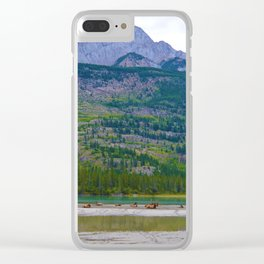Bull Elk with his Lady Friends on the Athabasca River in Jasper National Park, Canada Clear iPhone Case