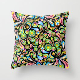 Psychedelic Color Drops Abstract Art Design Throw Pillow
