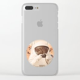 Astronaut Cat on Mars Clear iPhone Case
