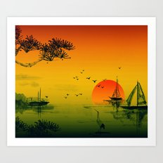 Japanese Sunset Art Print
